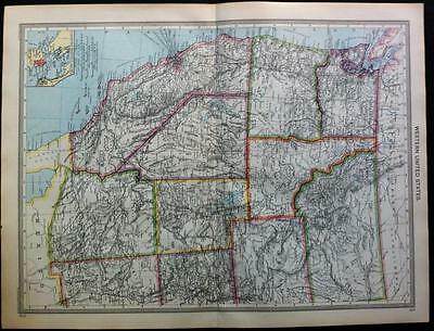 Map of WESTERN UNITED STATES and WEST INDIES c1906, Original color maps