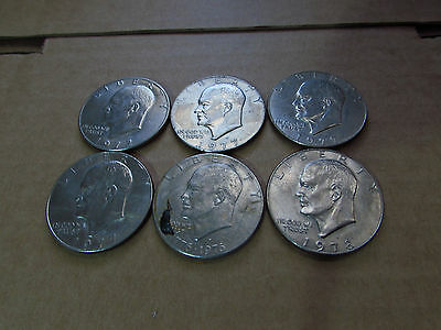 Lot of 6 Eisenhower Dollar Coins - Bicentennial, 70's