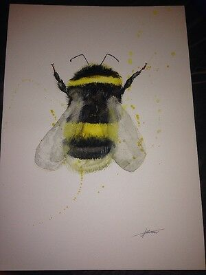 ORIGINAL WATERCOLOUR PAINTING bumble bee  SIGNED animal gift pop art.