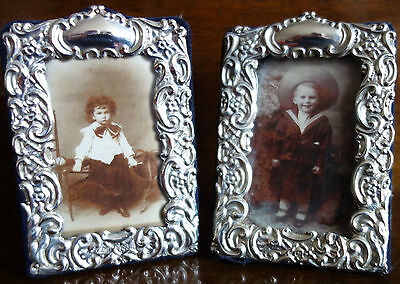 Pair Of Victorian- Edwardian Solid Silver Miniature Photo Frames - 1909 -1911
