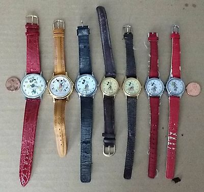 6 Lorus mickey and Minnie mouse quartz wristwatches & 1 Disney manual wind watch