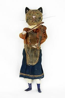 Antique Early German Paper Mache Cat And The Fiddle Mechanical Squeeze Doll 1890