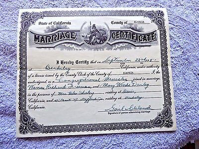 OLD VTG  COLLECTIBLE Marriage Certificate from 1927 - $29 95