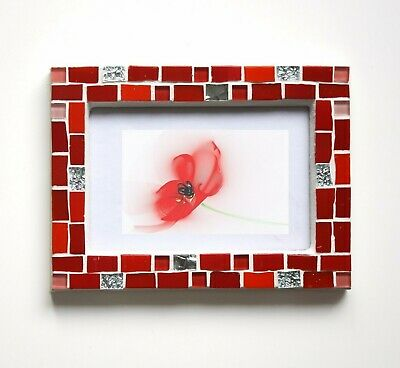 Red Glass Mosaic Photo Frame 4x6 Unique Anniversary Gift For Women