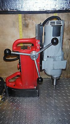 "Milwaukee Cat.#4203 Mag Drill Base & 1-1/4"" 2 Speed Drill Motor Cat.#4297-1"