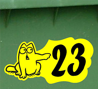 WHEELIE BIN WASTE BINS NUMBERS RECYCLING CUSTOM HOUSE STICKER Decal Sign Cat