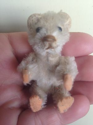 "Rare White Antique Miniature 2.5"" Mohair Schuco Piccolo Bear Felt Hands & Feet"