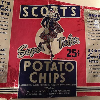 1960'S SCOTT'S POTATO CHIP BAG- ADVERTISING-empty