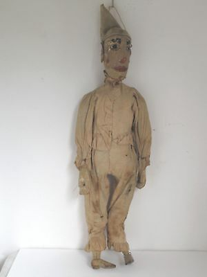 Antique Hand Made Clown Puppet Marionette Folk Art Old Paint and Clothes c.1900