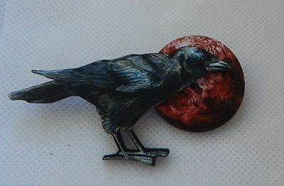 Raven Blood Moon Brooch or Scarf Pin Accessories, Jewelry Fashion Wood NEW Black