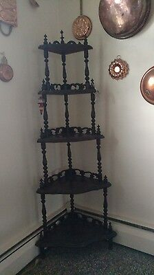 "Victorian Style Wooden ""What-Not""  Corner Shelf"