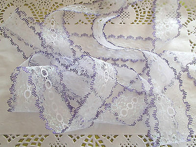 knitting in/coathanger/eyelet lace 10 meters x 4 cm  white sparkle/lilac edge
