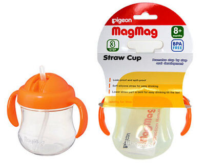 NEW Pigeon - Mag Mag Step 3 Straw Cup - Orange from Baby Barn Discounts