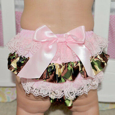 Newborn Baby Girl's Toddler Bow Ruffle FRILLY Pants Bloomers Nappy Cover 0-3Year
