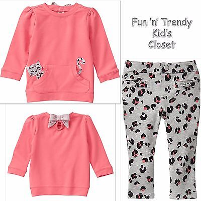 NWT Gymboree KITTY IN PINK Girls Sz 4T Leopard Kitty Pullover Top Pants 2-PC SET