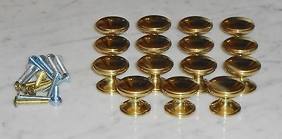 Set of 15 Vintage Polished Brass Drawer Cabinet Pull Knobs in VGC