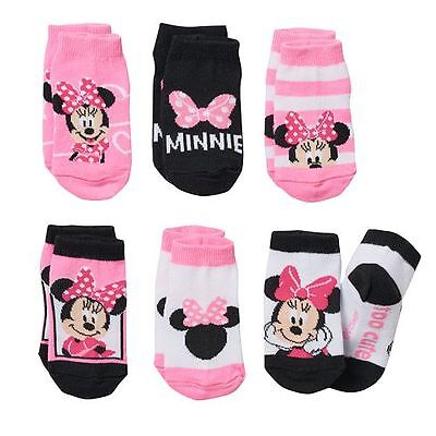 Lot of 6 Pairs Minnie Mouse Toddler Girl Socks 24-48 months 2T 3T 4T Disney NWT
