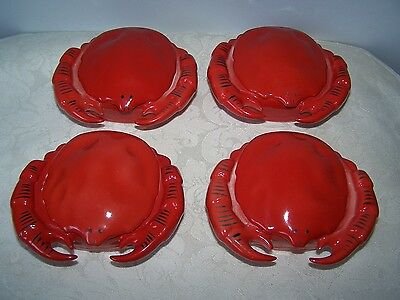 4 Porcelain Czechoslovakia Covered Crab / Lobster Butter Pots / Bowls / Dishes