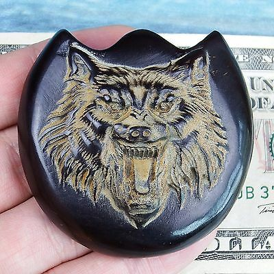 Black Ox Horn Africa Buffalo Detailed Carving Wolf  (55 mm, collector plates )