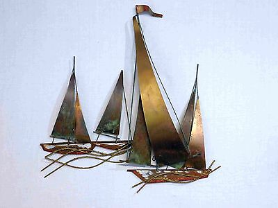 VINTAGE CURTIS JERE MID CENTURY MODERN SAILBOATS WALL SCULPTURE, SIGNED 26 x 27