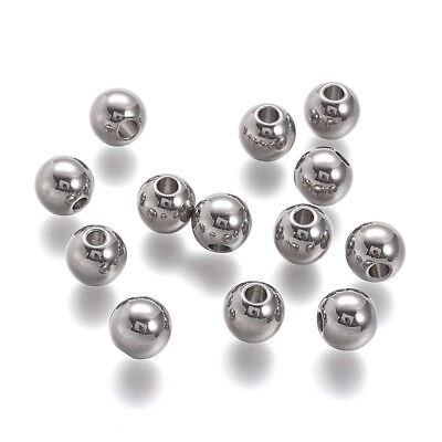 20pcs 304 Stainless Steel Metal Beads Round Smooth Loose Spacers Beading 10x9mm