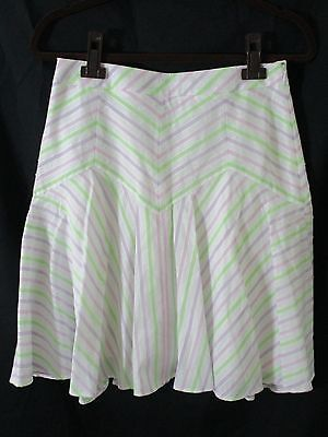 Ann Taylor LOFT Womens Size 2 100% Cotton Lined Flared Multi-Color Striped Skirt