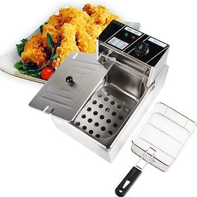 6L Electric Countertop Deep Fryer Commercial French Fry Stainless Steel 2500W