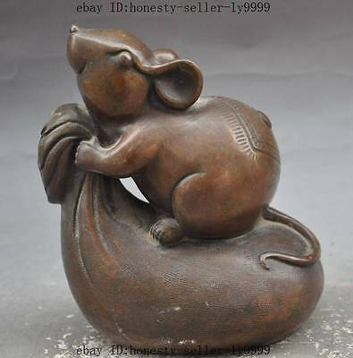 china bronze Auspicious wealth Purse strings Mouse Rat Mice lucky animal statue