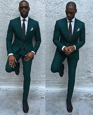 Green 2 Pieces Slim Fit Groom Tuxedos Wedding Formal Party Men Groomsmen Suits