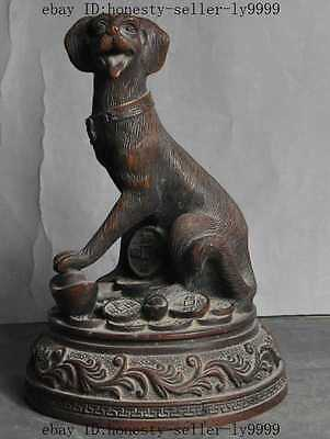 "8"" old chinese fengshui bronze wealth money coin ingot zodiac dog Canine statue"