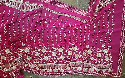 Preloved Authentic Sari India Indian Hot Pink Gold Sequins Genuine Handmade