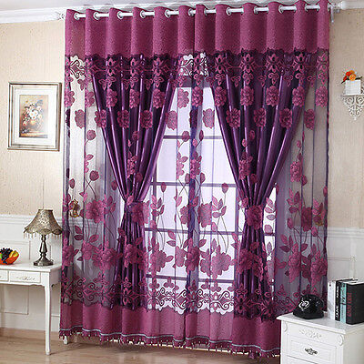 Home Door Window Floral Tulle Sheer Drape Panel Voile Curtain Scarf Valances New