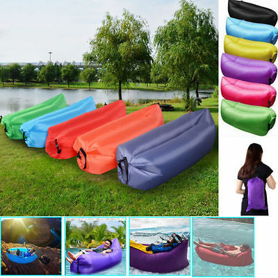 Inflatable Air Sofa Bed Lazy Sleeping Camping Bag Beach Hangout Couch Windbed ^^