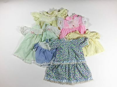 Vintage Baby Girl Dress Lot Of 6 Doll Clothes Pink Yellow Green 1950s 1960s