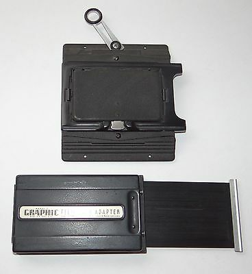 Vintage 2-1/4 x 3-1/4 Camera Back with Graphic Model 2 Film Pack Adapter