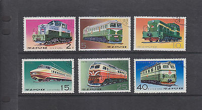 Korea-1976-Trains Stamp Set-Cto-6 Values-Large Colourful Stamps