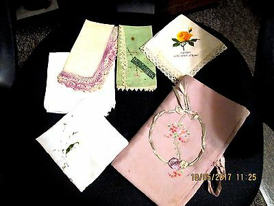Antique & Rare  Ladies Handkerchief Holder Embroidered And 5 Handkerchief's