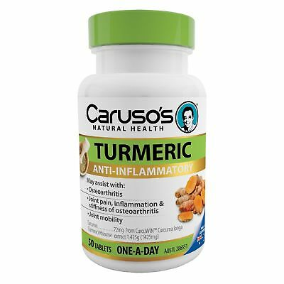 Caruso's Turmeric 50 Tablets Anti-Inflammatory For Osteoarthritis Joint Pain