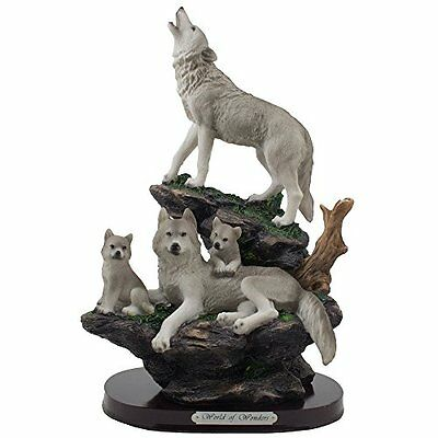 Howling Wolf and Family on a Rock Statue for Decorative Lodge and Rustic Cabin &