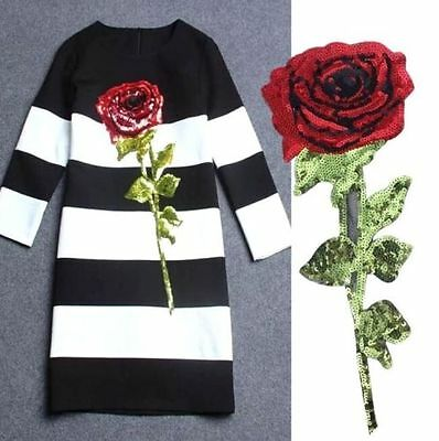 32CM Large Clothing's Sequin Rose Applique Patch DIY Garment Embroidery Craft *