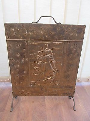 """Vintage  Fire Screen Brass Copper Plate Galleon Ship Panel Height 23"""" Width 18"""""""