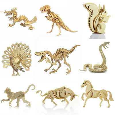 3D Puzzle Wooden Animal Model Jigsaw Craft Decor Educational DIY Kids Toys Gift