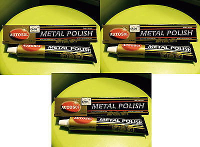 3 x Autosol Solvol Chrome Polish / Cleaner Aluminium & Metal Paste 75ml