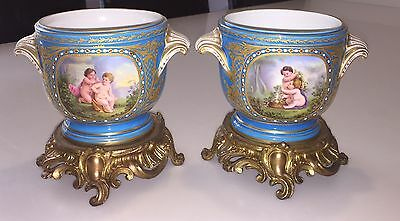 Antique Pair Of Sevres Wine Coolers With Bronze (RARE)