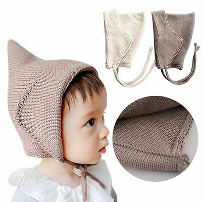 Newborn Baby Boy Girl Cute Winter Warm Knitted Hat Kid Lace Up Cap Headdress New