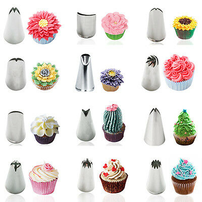 Stainless Steel Icing Piping Nozzles Cake Decoration Tips Baking Tools 15 Styles