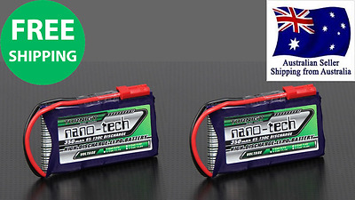 2Pack Turnigy NanoTech 350mAh 1S 65~130C 3.7v LIPO Battery RC Drone Helicopter