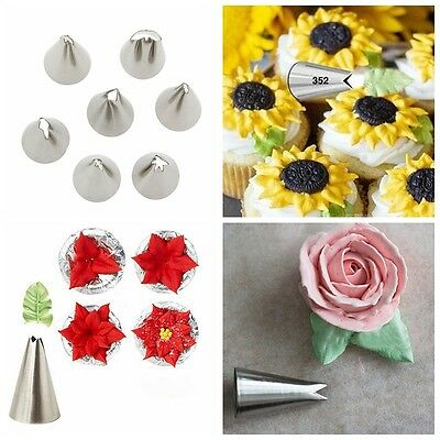 7pcs Icing Piping Nozzles Leaf Pattern Stainless Steel Cake Frosting Pastry Tips