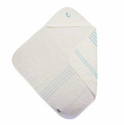 BRAND NEW IN PACK Hippychick Hooded Hammam Baby Towel White/Blue