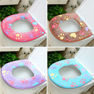 Velvet Bathroom Toilet Seat Closestool Soft Warmer Mat Cover Pad Cushion Thicken